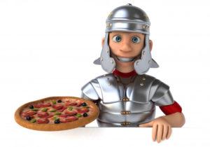 soldat romain avec une pizza