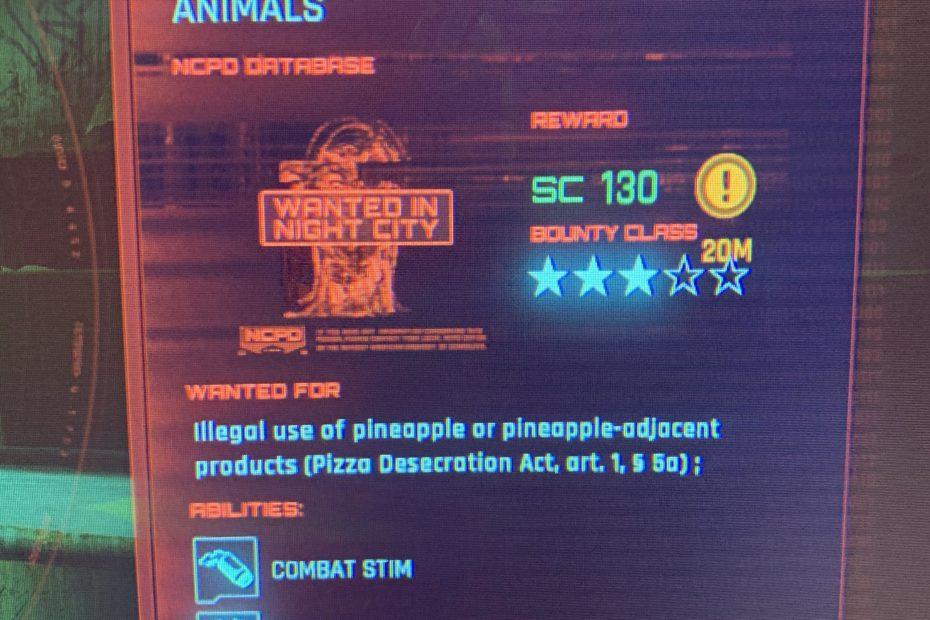 Une dystopie? Dans Cyberpunk 2077, mettre de l'ananas sur une pizza est un crime grave