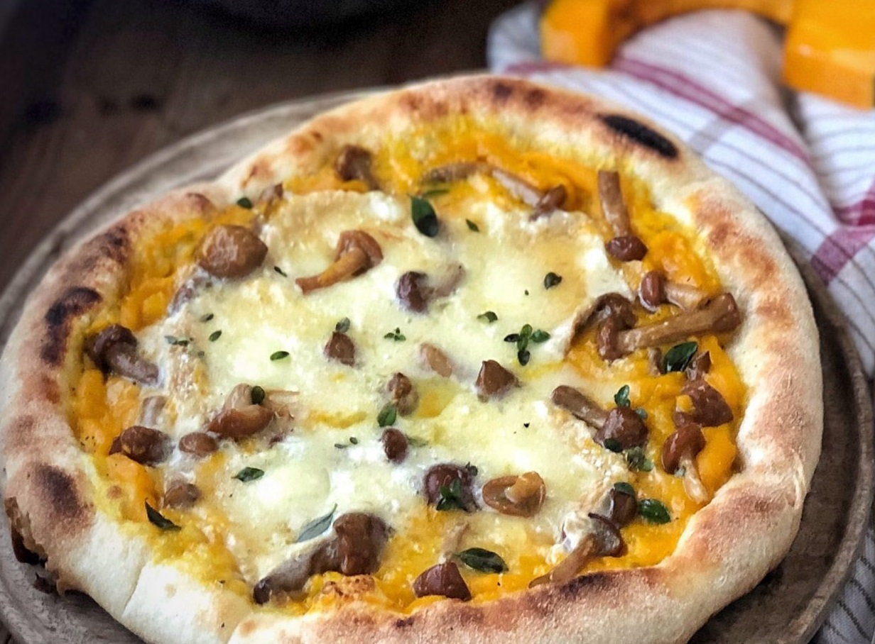 pizza zucca e funghi